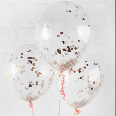 Confetti Filled Balloon - Rose Gold