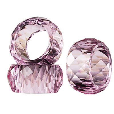 CRYSTAL NAPKIN RINGS ROUND PACK OF 4 PINK