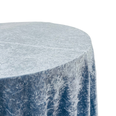 CRUSHED VELVET TABLE CLOTHS 132 ROUND - DUSTY BLUE