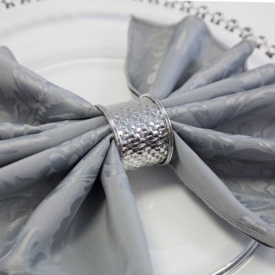 Weave Napkin Rings 05 Silver - 6 Pack