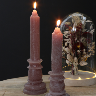 CANDLE RUSTIC TAUPE 20cm