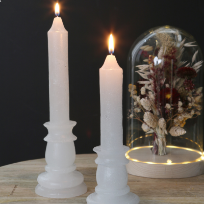 CANDLE RUSTIC WHITE 20cm