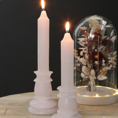 CANDLE RUSTIC WHITE/PINK 20cm