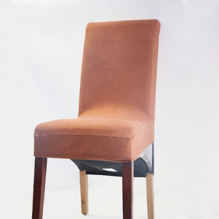 Suede Dining Chair Cover - Brown
